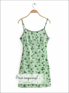 Green Butterfly Print Bodycon Mesh Cami Mini Dress