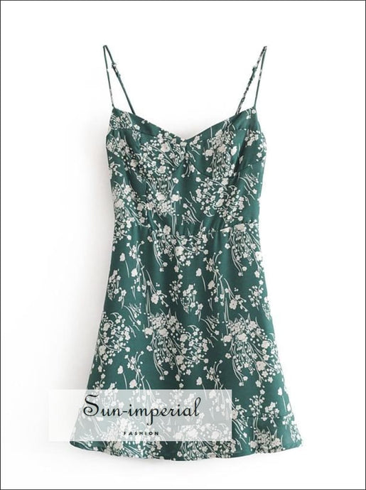 Green Floral Cami Straps A-line Corset Style Mini Dress with Ruffle Edge detail Beach Print, bohemian style, boho casual chick sexy style