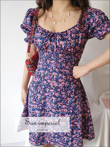 Green Floral Mini Dress a Line Ruched Square Neck Frill Sleeve with Bowknot front