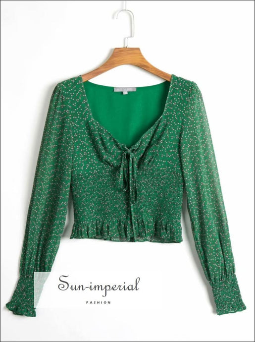 Green Floral Print Long Sleeve Elastic Waist Ruffles Decor Crop top Blouse