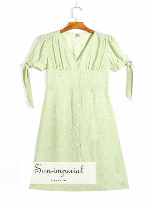 Green Floral Print Midi Buttoned Vintage Short Sleeve Dress