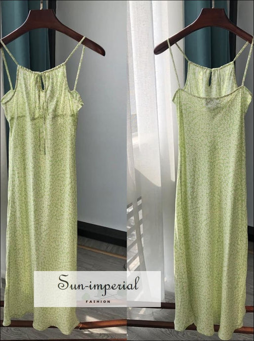 Green Floral Print Sling Cami Midi Dress Ruched Bust Center Lace Slim vintage style SUN-IMPERIAL United States