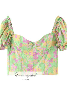 Green Floral Ruched Bust Corset Style Crop top Ruffle Decort Tank top