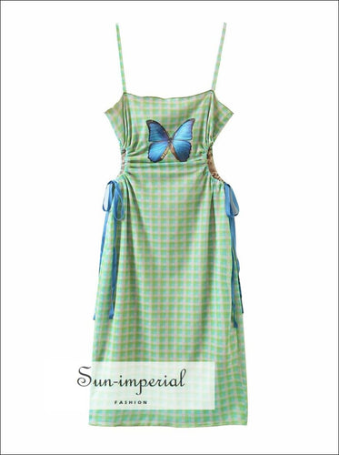 Green Plaid Cami Straps Mini Dress with Blue Butterfly Print and Cut out Drawstring Waist detail chick sexy style, MIni With And Out Detail,