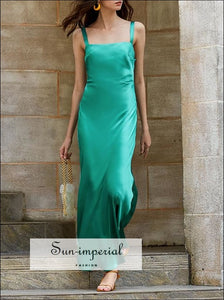 Green Satin Elegant Mermaid Maxi Dress with Square Collar and Wide Cami Spaghetti Strap elegant style, Unique style SUN-IMPERIAL United