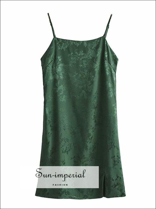 Green Satin Floral Print Cami Strap Square Collar Mini Dress with front Slit detail chick sexy style, elegant Unique style SUN-IMPERIAL