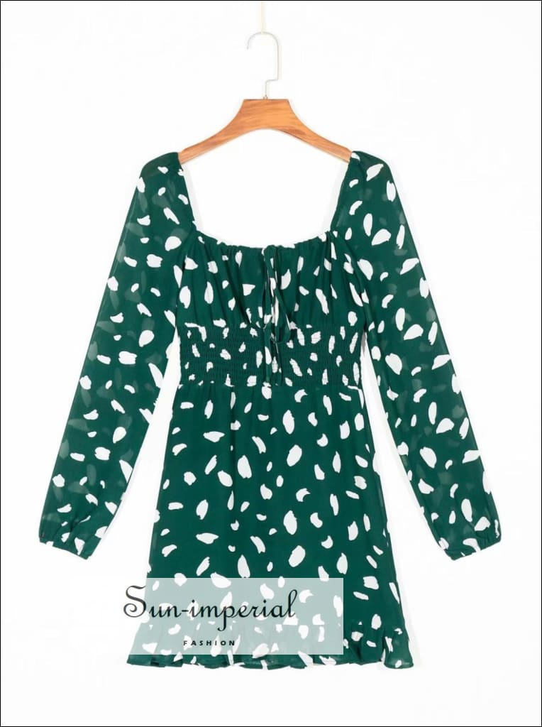 Green Vintage Long Sleeve Mini Dress with Ruched Bust Tie front Ink Dot Print Ruffle Edge Details sleeve ruched bust tie dot ruffle edge