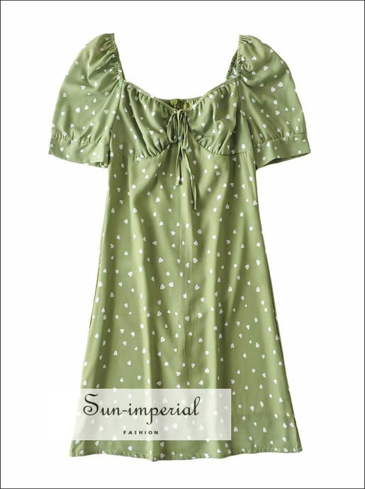 Green White Heart Print Short Puff Flare Sleeve Mini Dress with front Tie Ruched Bust detail chick sexy style, vintage style SUN-IMPERIAL