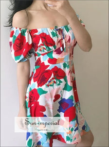 Green - Women Square Neck Floral Print Mini Dress with Puff Sleeve