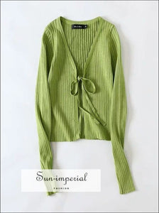 Green Women Tie front Crop Rib Knit Cardigan