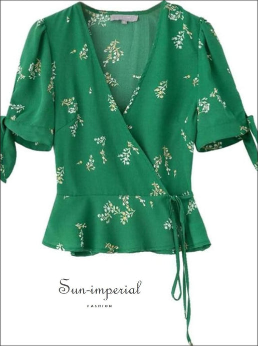 Green Wrap Neck Flower Print Lace Tie Waist Kimono top Short Edge Sleeve Women Blouse wrap neck lace tie waist edge women Blouse, vintage