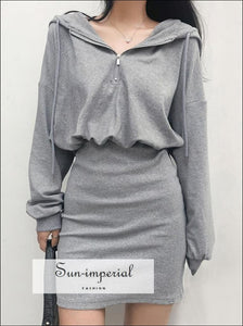 Grey Half Zip front Mini Hoodie Sweat Dress Drop Shoulder Hooded Sporty BASIC, Basic style, Sporty, sporty street style SUN-IMPERIAL United