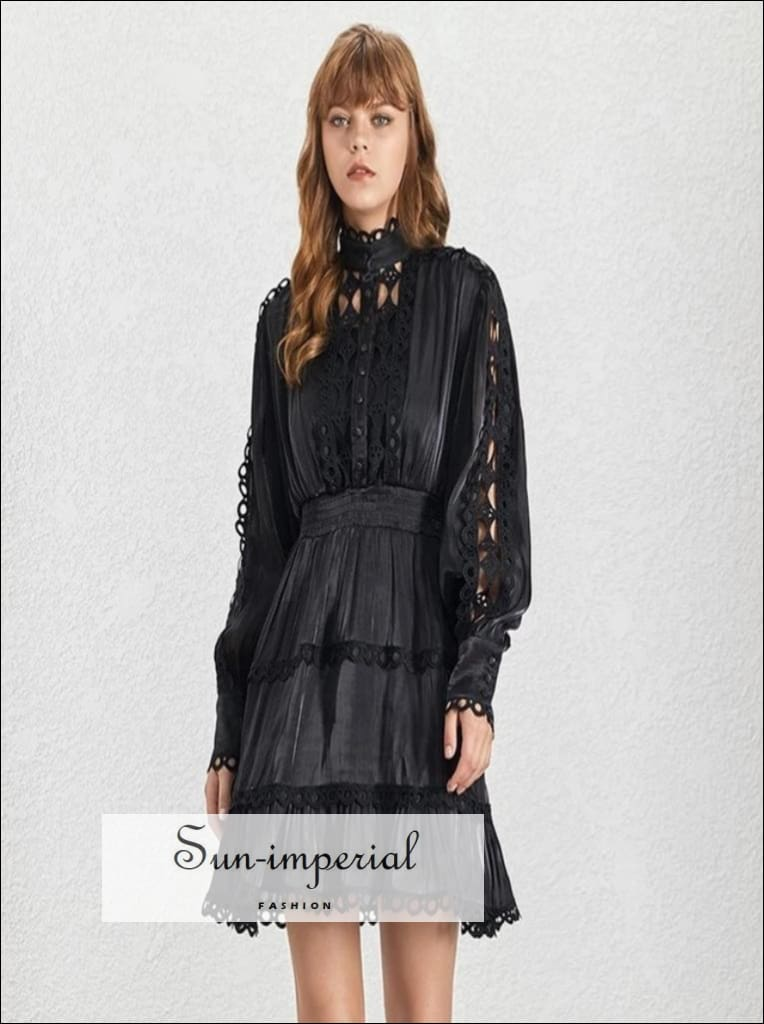 Hanna Dress -vintage Black Elegant Lantern Long Sleeve Lace Women's Mini Dress, Sleeve, Patchwork Lace, Stand Collar, vintage SUN-IMPERIAL