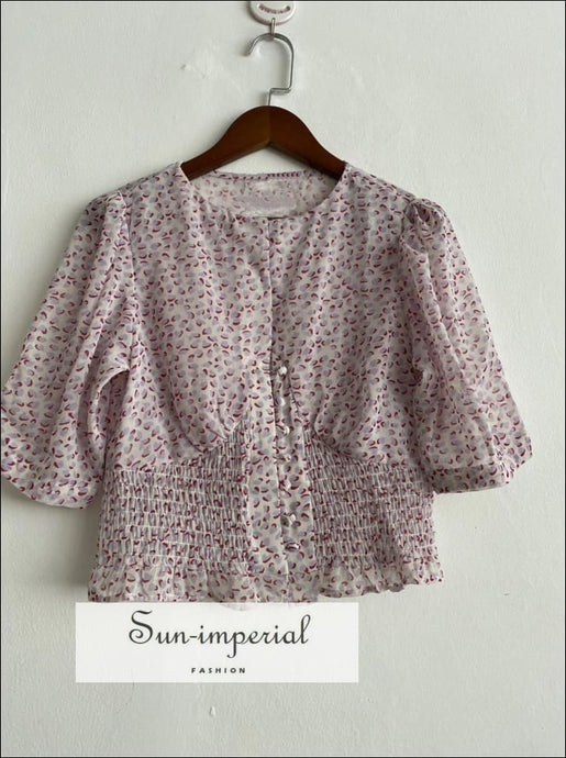 Hearts Print Half Sleeve Women O Neck Blouse Canter Buttons and Ruffled detail top vintage style SUN-IMPERIAL United States