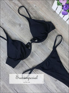 High Cut Thong B Swimsuit Solid Swimwear Women Brazilian Bikini Set SUN-IMPERIAL United States