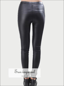 High Quality Wholesale Punk Black Faux Leather Gothic Lace Legging Women up Leggings SUN-IMPERIAL United States