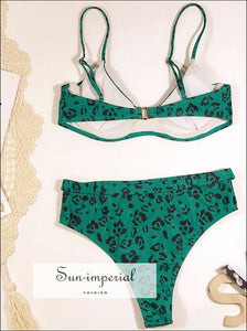 High Waist Bikini Belt bottom Swimsuit Women Leopard Print Bikini Set Swimwear - Pink Snakeskin
