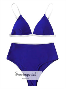 High Waist Bikini Set Blue Push-up Two-piece Beach Swimwear Fashion Summer Ladies plus Size