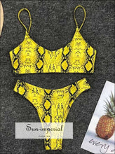 High Waist Bikini Set Yellow Bandeau Swimsuit Thong Two-pieces SUN-IMPERIAL United States