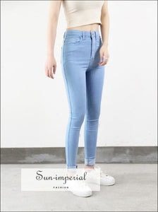 High Waist High Elastic Jeans Women Hot Sale American Style Skinny Pencil Denim Pants Fashion