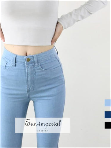 High Waist High Elastic Jeans Women Hot Sale American Style Skinny Pencil Denim Pants Fashion Pantalones Vaqueros Mujer SUN-IMPERIAL United