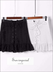High Waist Laced Ruffled Lace Skirt Women SUN-IMPERIAL United States