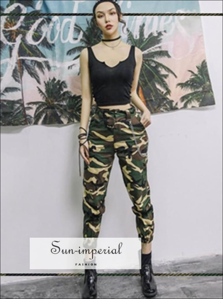 High waist pants cargo loose joggers women pants street wear punk style black/khaki trousers SUN-IMPERIAL United States
