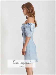 Hilton Dress -Casual Solid Denim Women Square Collar Puff Sleeve Slim Button Mini Dresse Dress, Sleeve, Button, Collar, vintage SUN-IMPERIAL