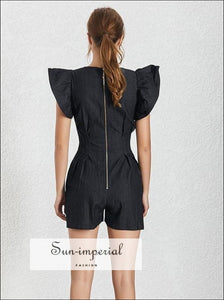 Hollywood Romper - Black Short Jumpsuit for Women V Neck Ruffle Sleeve High Waist Jumpsuits, Waist, Pants, Neck, vintage SUN-IMPERIAL United