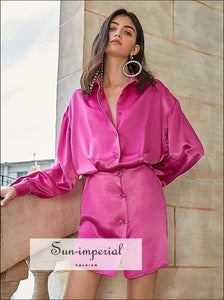 Hot Pink Satin Buttoned Long Sleeve Mini Dress with Lapel Collar chick sexy style, elegant Unique style SUN-IMPERIAL United States