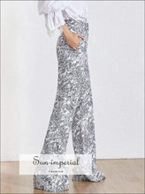 Iris Pants -vintage Flare Pants for Women High Waist Slim Floral Print Maxi Length