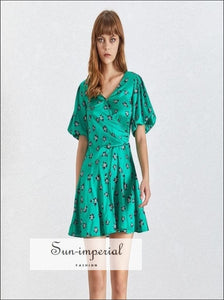 Ivanna Dress in Poison - Summer Print Mini for Women V Neck Short Sleeve High Waist Slim Green Dress, Waist, Sleeve, SUN-IMPERIAL United