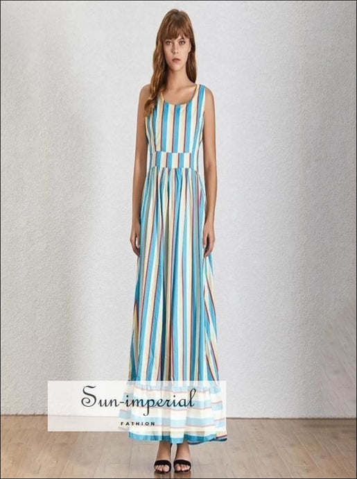 Ivy Dress- Striped Maxi Dress color block Backless x strap Sleeveless High Waist A-line dress Backless Sleeveless Striped Summer Dress