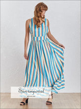 Ivy Dress- Striped Maxi Dress Color Block Backless X Strap Sleeveless High Waist A-line Dress