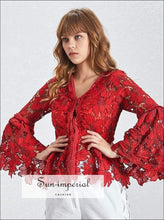 Jade top - Fashion Reddish Women's Shirt V Neck Long Flare Sleeve Lace top