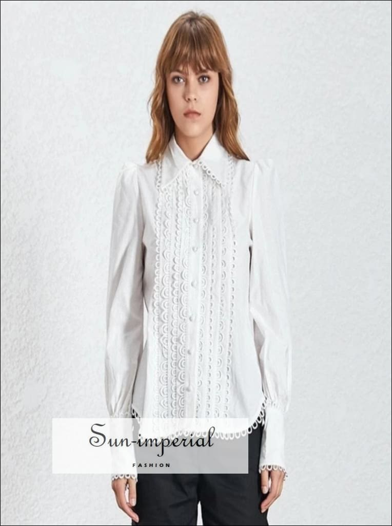 Jayda top - Elegant Lace White Blouse for Women Lapel Long Sleeve Loose Shirt