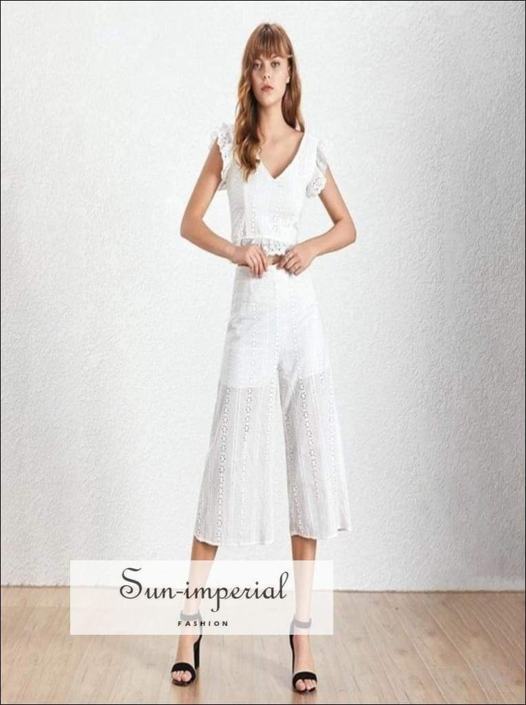 Jenny Two Piece Set - Casual Lace Women V Neck Sleeveless Tops High Calf Length Pants, Waist, Sleeveless, Set, vintage SUN-IMPERIAL United