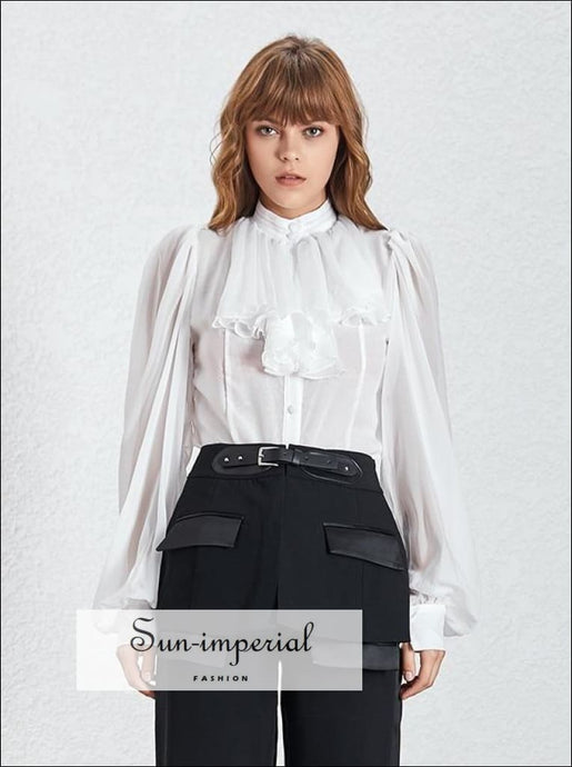 Johanna top - Solid White Women Chiffon Sheer Blouse Lantern Long Sleeve Buttoned top