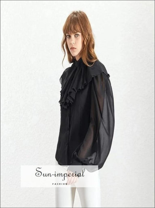 Johanna Top - Solid Black and White Women Chiffon sheer blouse Lantern long Sleeve buttoned top turtle Ruffle neck shirt 2019 Fashion