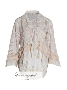 Jose top - Vintage Lace Loose Shirt Long Sleeve Champagne top for Women Lapel Collar Flare Sleeve