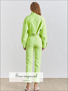 Sun-Imperial Josephine Denim Set - Green Denim Two Piece Sets Women Long Sleeve Lapel Collar Jackets High Waist