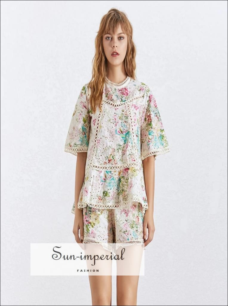 Josie Shorts Set -women Floral Print O Neck Short Sleeve Shirts High Waist Loose Shorts Sets