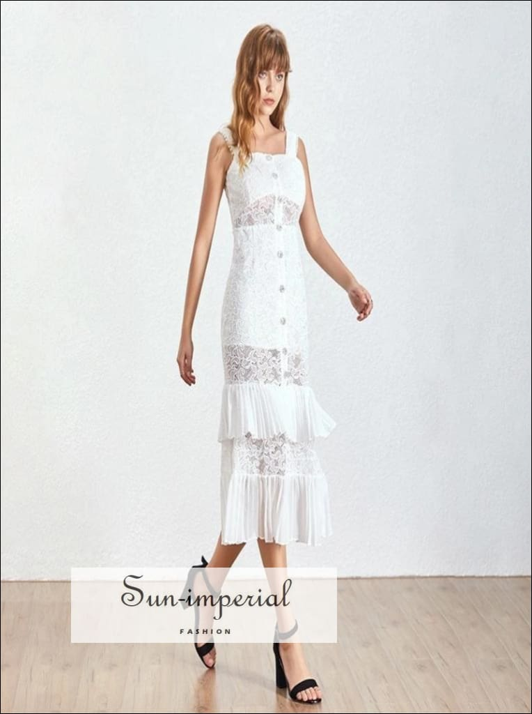 Journee Dress- White Lace Elegant Maxi Dress Sleeveless High Waist Embroidery Slim Ankle Length