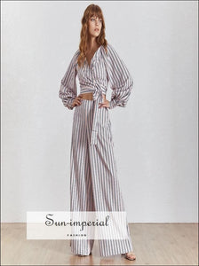 Julian pants set - Striped Women Two Piece wide leg pants Set tie warp long Lantern Sleeve blouse Lantern Sleeve Long Pant Two Piece Set V