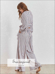 Julian Pants Set - Striped Women Two Piece Wide Leg Tie Warp Long Lantern Sleeve Blouse Sleeve, Pant, Set, V Neck, vintage SUN-IMPERIAL