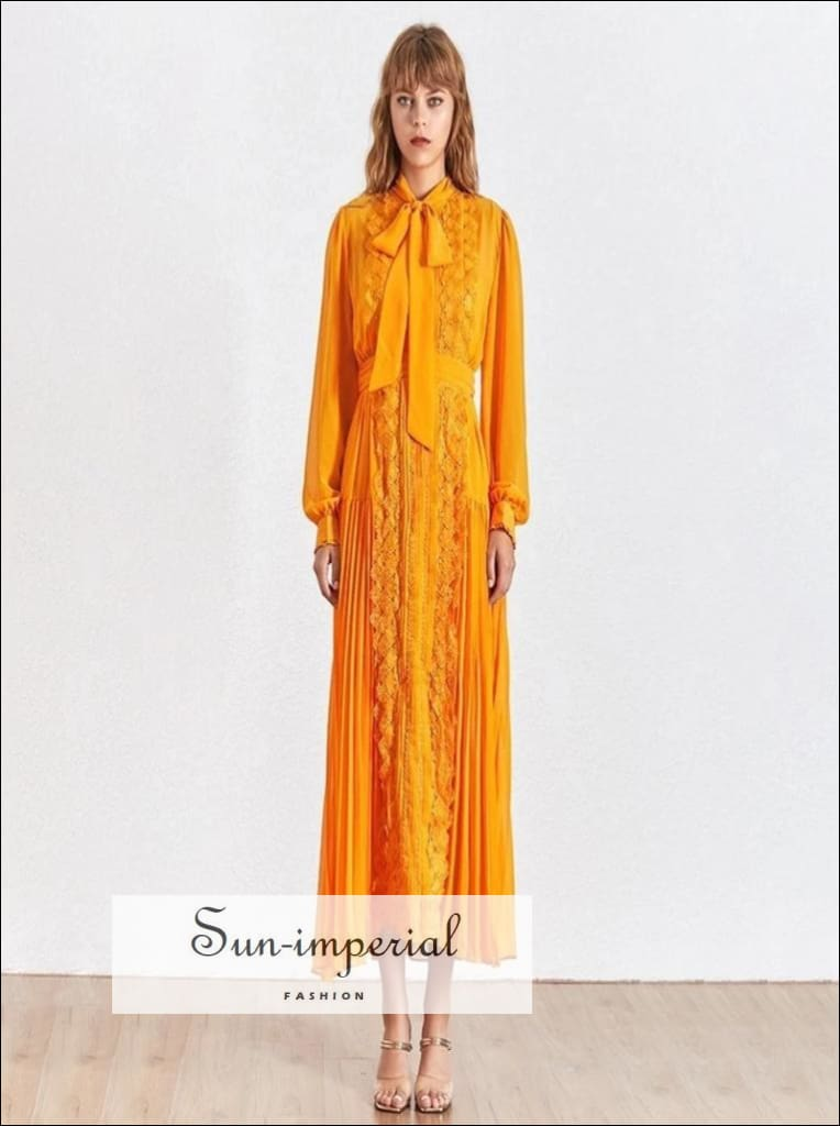 Kalani Dress- Vintage orange maxi lace Elegant Dress Bow knot Collar Long Sleeve Bowknot Collar Elegant Lace Patchwork Long Sleevehigh Midi