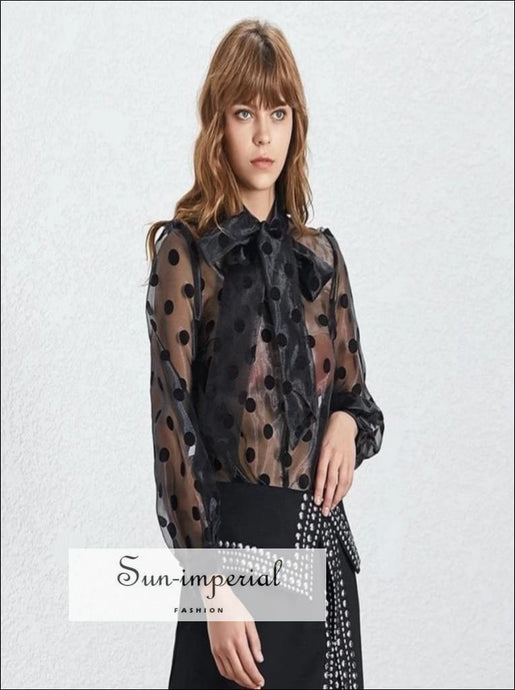 Katia top - Vintage sheer Casual Polka Dot Women Blouse Bow Collar Lantern Sleeve Loose Shirt SUN-IMPERIAL United States