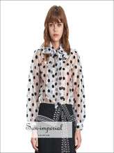 Katia top - Vintage Sheer Casual Polka Dot Women Blouse Bow Collar Lantern Sleeve Loose Shirt