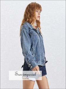 Kent Denim Jacket- One Shoulder Denim Jacket For Women Long Sleeve Asymmetrical Side Split top Denim Jacket Lapel Collar Long Sleeve One