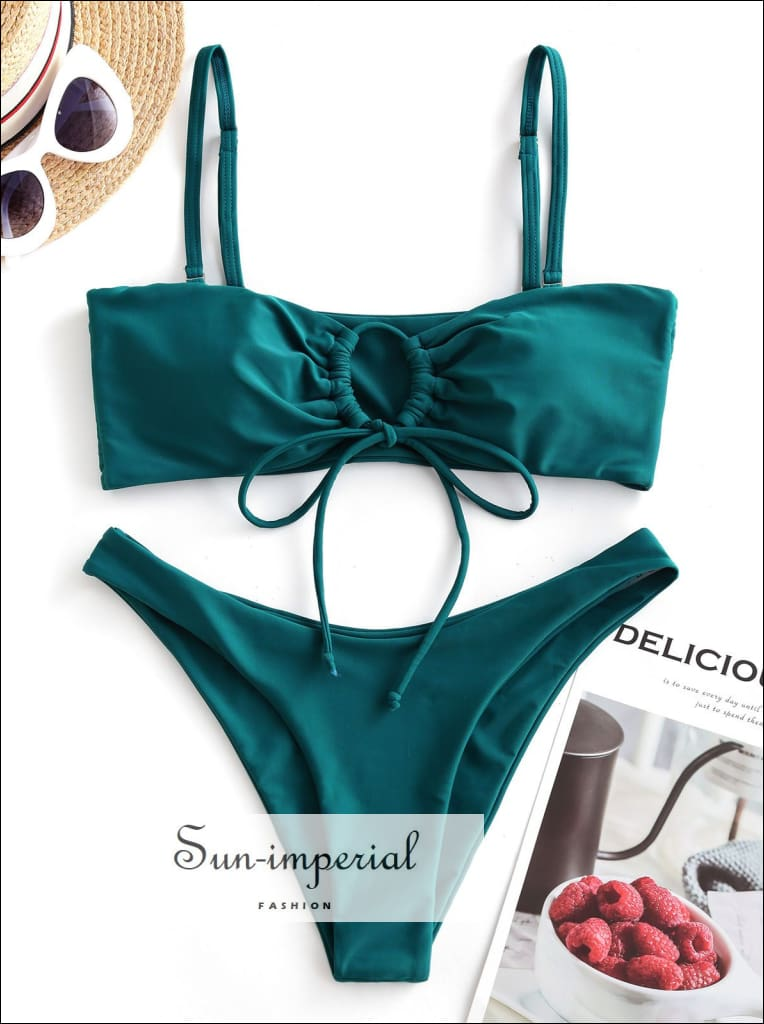 Keyhole Drawstring Low Waisted Bikini Swimwear Set SUN-IMPERIAL United States